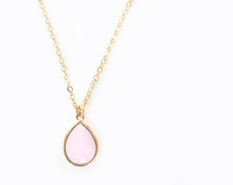 Pink glass teardrop necklace Ice pink crystal pendant Pink bridesmaid necklace Blush necklace Pastel pink jewelry set Pink dainty jewelry