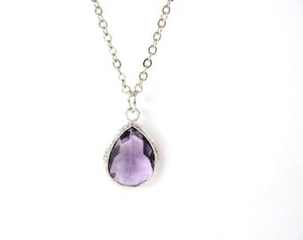 Tanzanite Necklace Purple Necklace Purple Glass Teardrop Necklace Eggplant Bridesmaids Necklace Amethyst Necklace Eggplant Necklace