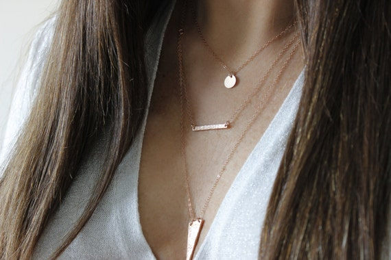 Bar Pendant ROSE591 Rose Gold Plated Charms Hammered Pendant Layered Necklace Connector Charm 6x35mm Rose Hammered Bar Horizontal Bar