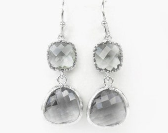 Gray Earrings / Light Charcoal Earrings / Grey Earrings / Gray Bridesmaids Earrings / Gray Weddings Jewelry