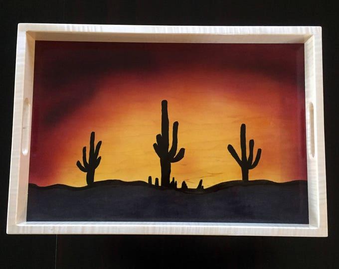 Wood Serving Tray - Sonoran Desert Sunset