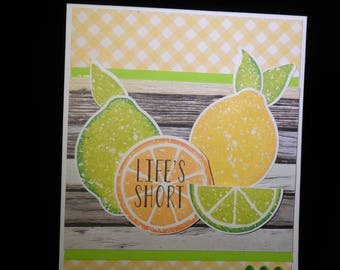 Encouragement Card -- Greeting Card -- Handmade Card -- Lemon Card