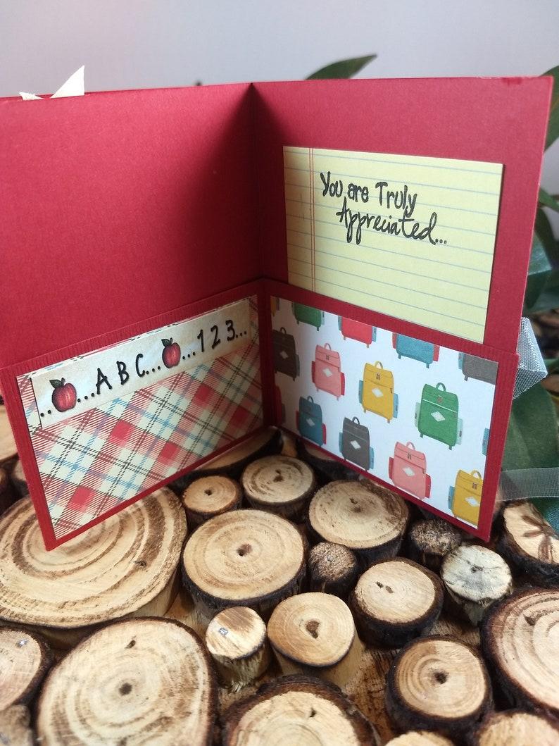 Teacher Card Teacher Gift Card Holder for Multiple Cards 4 Pocket Gift Card Teacher Card Holder Teacher Gift Card Holder