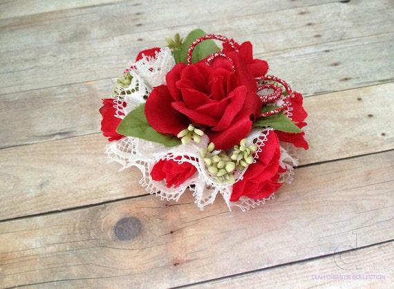 Vintage Inspired Hair Accessory Red Fascinator Rose flower  Hair Clip Floral Fascinator Wedding Headpiece