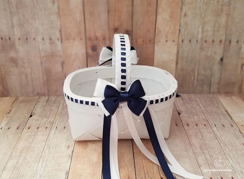 2e0bdbc8f918d Flower Girl Basket White Navy Blue Flower Basket Wedding | Etsy