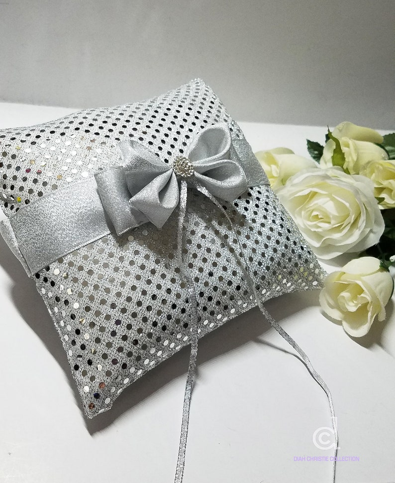 8x8 butterfly ring pillow Silver Wedding Ring Pillow silver ring pillow Ring Bearer Pillow