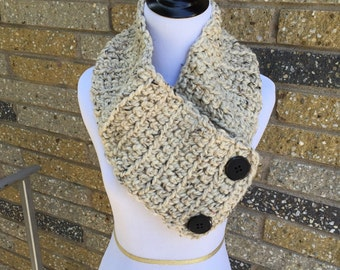 Oatmeal Button Scarf