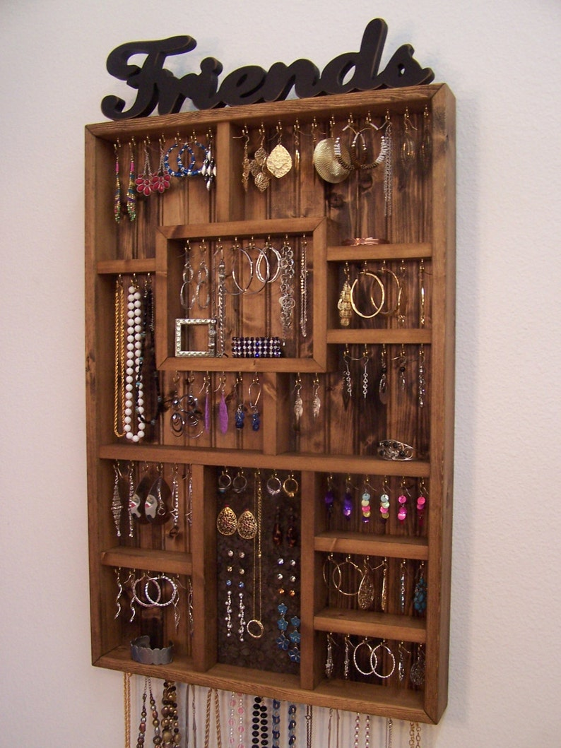 Earring Holder Jewelry Organizer Handmade Wood Wall Art
