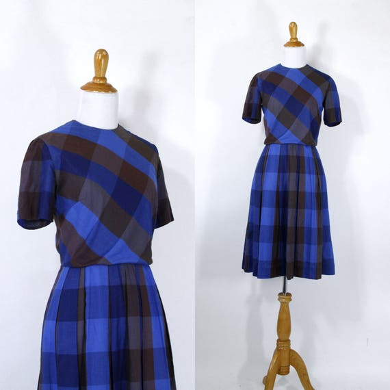 Vintage 1960s Dress | 50s 60s Blue and Brown Fall
