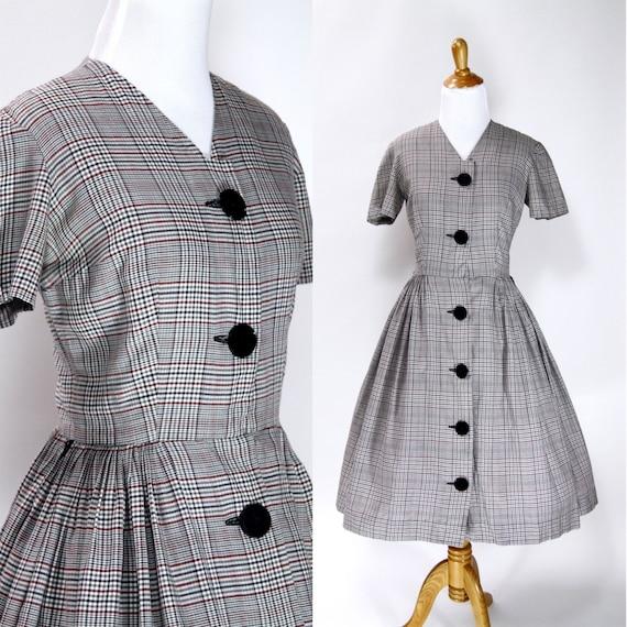 Vintage 1950s Dress | 50s Plaid Print Cotton Day D
