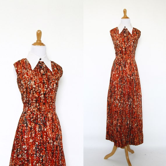 Vintage 1970s Dress | 70s Batik Print Maxi Dress | Orange | Large L