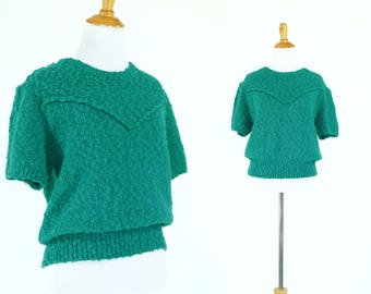 Vintage 1980s Sweater   80s Emerald Green Sweater Top with Puff Sleeves   M L XL