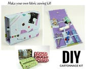 Fabric Sewing kit DIY kit, fabric covered kit, cartonnage kit, (DIY kit 110), online instructions included