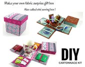 Fabric Sewing box DIY kit, fabric covered box kit, etui sewing box kit, surprise gift box, (DIY kit 135), online instructions included