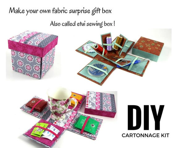 Fabric Sewing Box DIY Kit Covered Etui