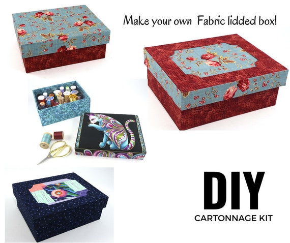 Fabric Lidded Storage Box DIY Kit Cartonnage Fabric Box Kit | Etsy