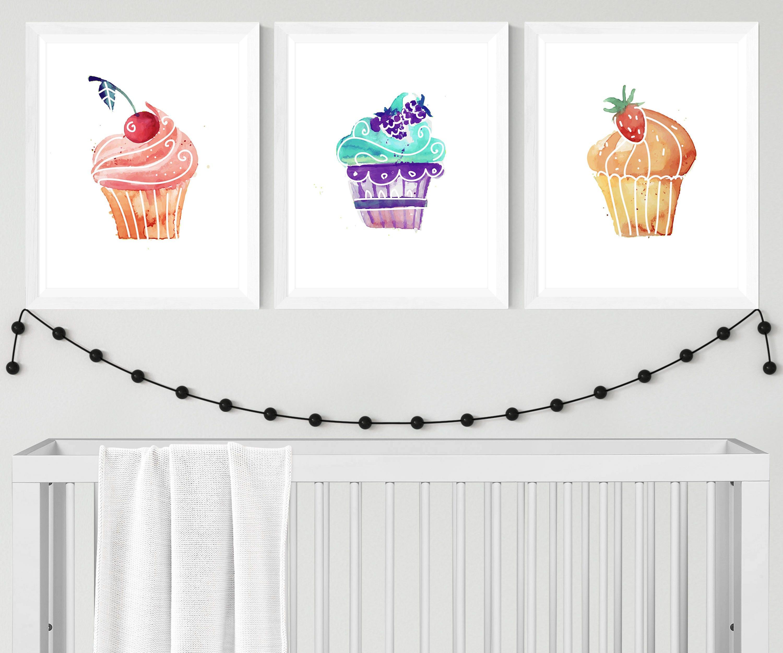 Kuchen wand kunst cupcake dekor cupcake geburtstag cupcake for Kuchen spritzschutz wand