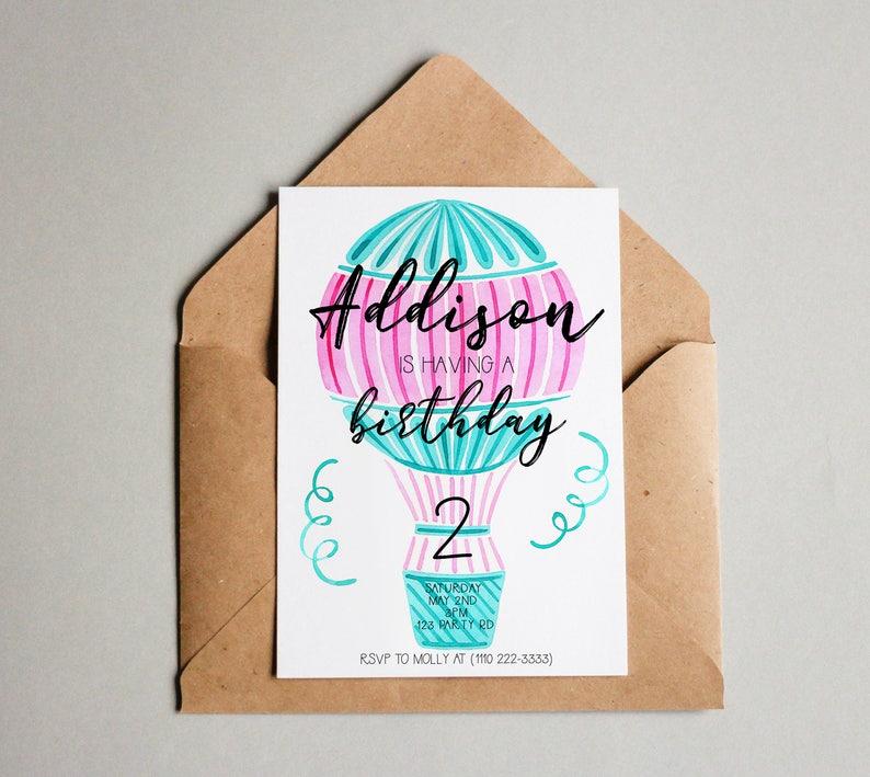 Hot Air Balloon Birthday Invitation Invite Printable Editable Template