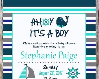 Ahoy It's a Boy Whale Shower Invitation, Sailboat, Ship's Wheel, Navy Blue and Aqua, Nautical Baby Shower, Baby Boy Shower,