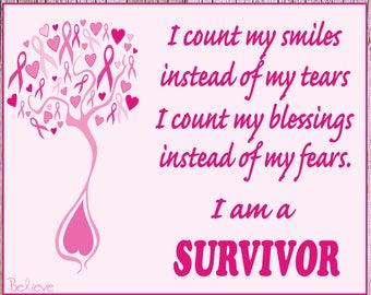 Breast Cancer Survivor Poem Sign, Breast Cancer Ribbon, I am a SURVIVOR, Photo Prop - 10% donated to Susan G. Komen Fund