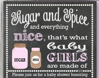 Sugar and Spice Baby Shower Invitation, Chalkboard Baby Girl Shower Invitation, Mason Jars, DIY Printable