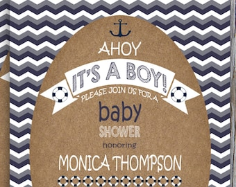 Nautical Baby Shower Invitation, Ahoy Its A Boy, Navy Blue and White Chevron, Anchors Baby Shower, Nautical Baby Shower Ideas - NBS003