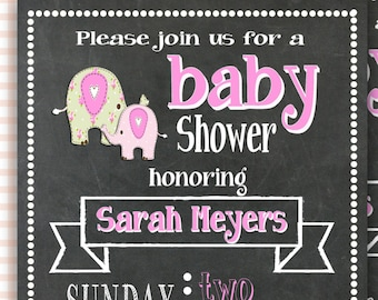 Elephant Baby Girl Shower Invitation, Chalkboard Baby Shower Invitation, Little Peanut Baby Shower, Pink and Green Elephant, Little Squirt