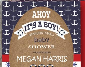 Ahoy It's A Boy, Nautical Baby Shower Invitation, Nautical Theme Shower, Navy Blue, Red and White Anchor, PRINTABLE (SB30)