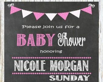 Stork Baby Girl Shower Invitation Baby Shower Girl Baby Shower Chalkboard Invitation Pink and White It's A Girl Printable - 003-001