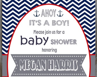 Nautical Baby Shower Invitation, Ahoy It's A Boy, Nautical Baby Boy Shower Ideas, Navy Blue and White Anchors, DIY PRINTABLE