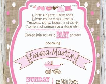 Baby Buggy Baby Shower Poem Invitation with Burlap, Pink Polka Dots Invitation, Shabby Baby Girl Shower Invitation - 004-001