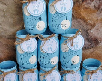 Baby Boy Shower Mason Jar Centerpieces Blue And White Polka Etsy