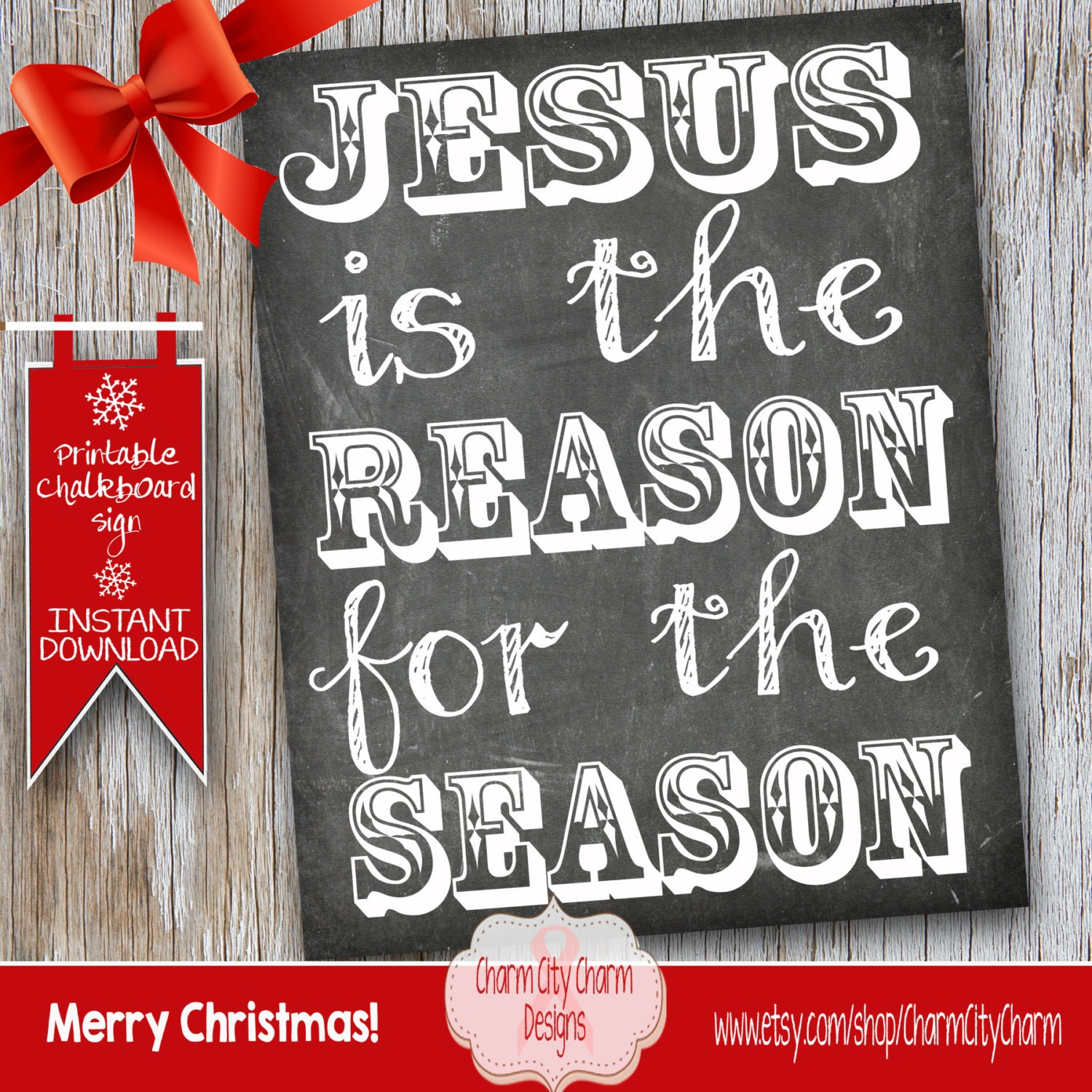Jesus Is The Reason For The Season Chalkboard Sign Christmas   Etsy