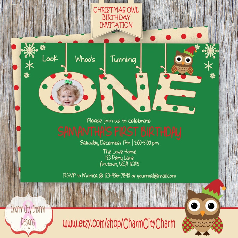 Christmas Owl Birthday Invitation Look Whoos ONE