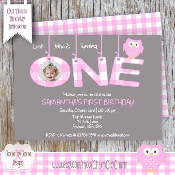 Pink Mod Owl Birthday Invitation Look Whoos ONE First