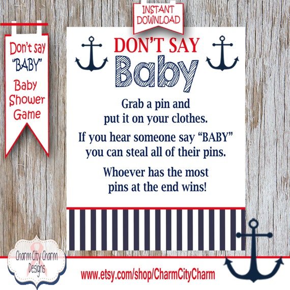 Baby Shower Clothes Pin Game Beauteous Nautical Don't Say Baby Baby Shower Game Clothes Pin Etsy