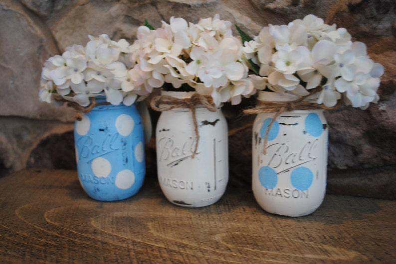 Painted Mason Jars, Baby Shower Centerpieces, Shabby Chic, Baby Boy Shower  Centerpieces, Painted Ball Jars, Nursery Decor
