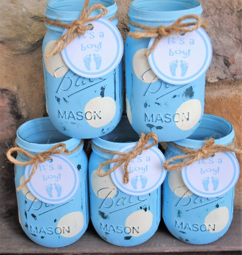 Stupendous Baby Boy Shower Centerpieces Boy Baby Shower Mason Jars Its A Boy Tag Shabby Chic Painted Blue And White Polka Dots Mason Jar Vases Download Free Architecture Designs Boapuretrmadebymaigaardcom
