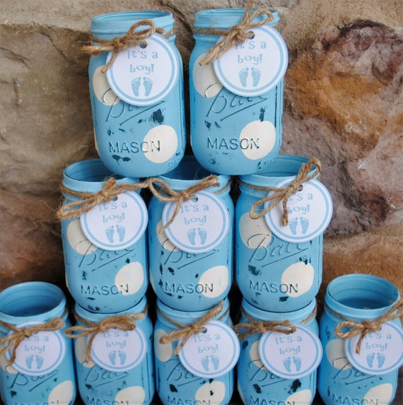 Mason Jar Centerpieces Baby Shower Centerpieces Blue And Etsy