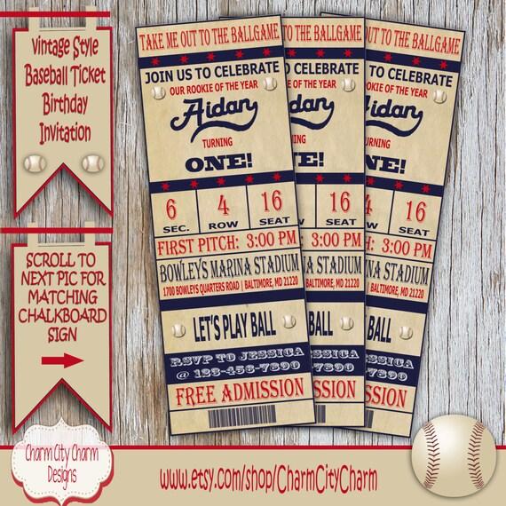 Retro Baseball Ticket Birthday Invitation Little Rookie Old Fashion July 4th