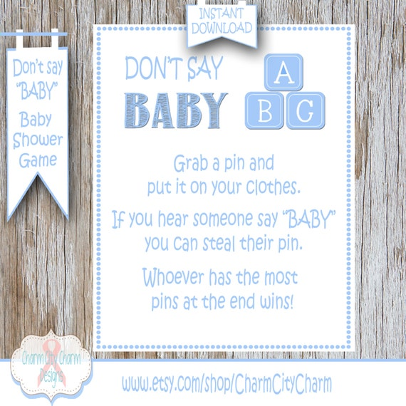 Baby Shower Clothes Pin Game Custom Baby Blocks Don't Say Baby Shower Game Clothes Pin Game Etsy