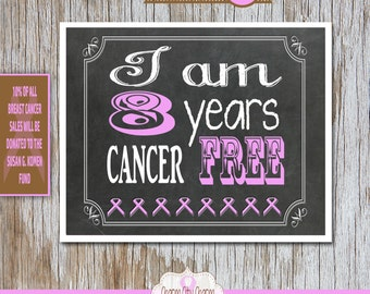 Breast Cancer Awareness Month, Breast Cancer Sign, Survivor, 8 Years Cancer Free, Photo prop - 10% donated to Susan G. Komen Fund
