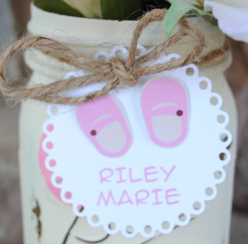 Baby Shower Mason Jar Centerpiece Baby Shower Table Vases Personalized Baby Shower Mason Jar Baby Booties Tag Pink Baby Shoes Shower Tag