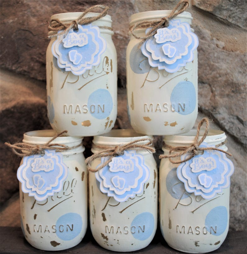 Baby Boy Shower Mason Jars, Painted Ball Jars, Boy Baby Shower  Centerpieces, Blue And White Polka Dot, Its a Boy Baby Shower
