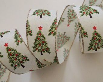 5yds 25 red green christmas wired ribbon wreaths make bows wired christmas ribbon winter holidays decor christmas tree decor ribbon gift