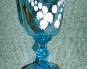 Vintage Hand Painted Blue Glass Cordial/Wine Glass EAPG