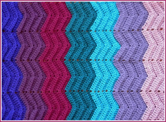 Turqoise and Lavender Rainbow-Style Baby   Blanket in Rich Jewel Tones Boysenberry Teal Orchids Handmade Crochet Deep Purple