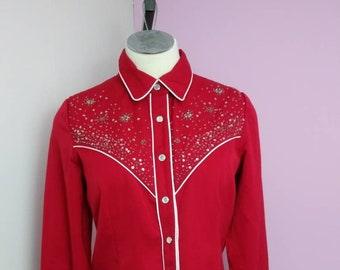 d007b7f8aea Vintage Scully Western Beaded Sequin Shirt Rockabilly Pinup Girl Clothing