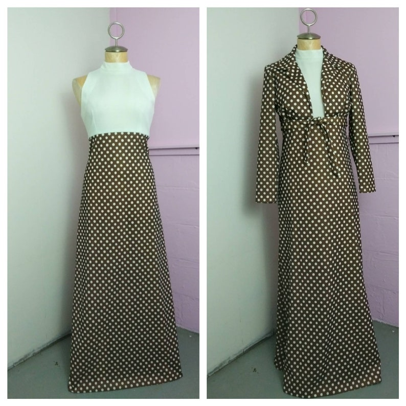 a8e59b733d6 1960s Two Piece Dress and Jacket Vintage Polkadot Two