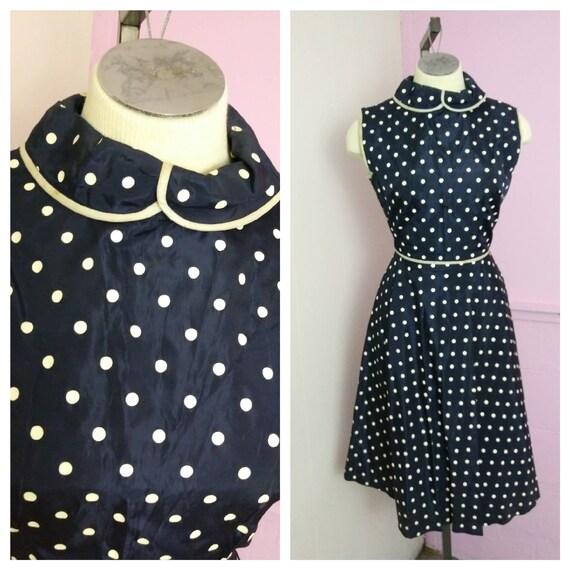 Vintage 1950s Navy and White Polka Dot Pinup Dress